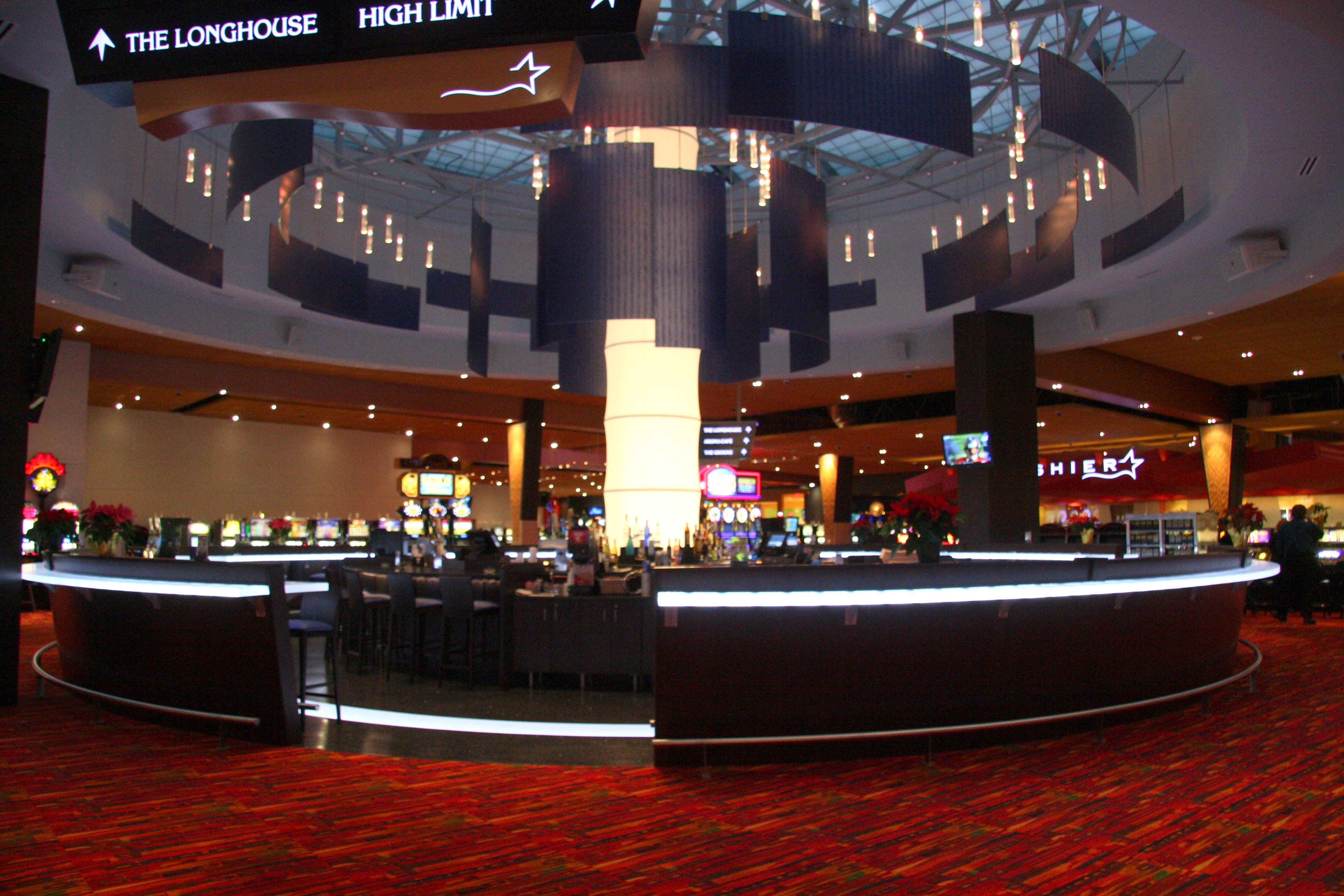 Casino interior with red floors