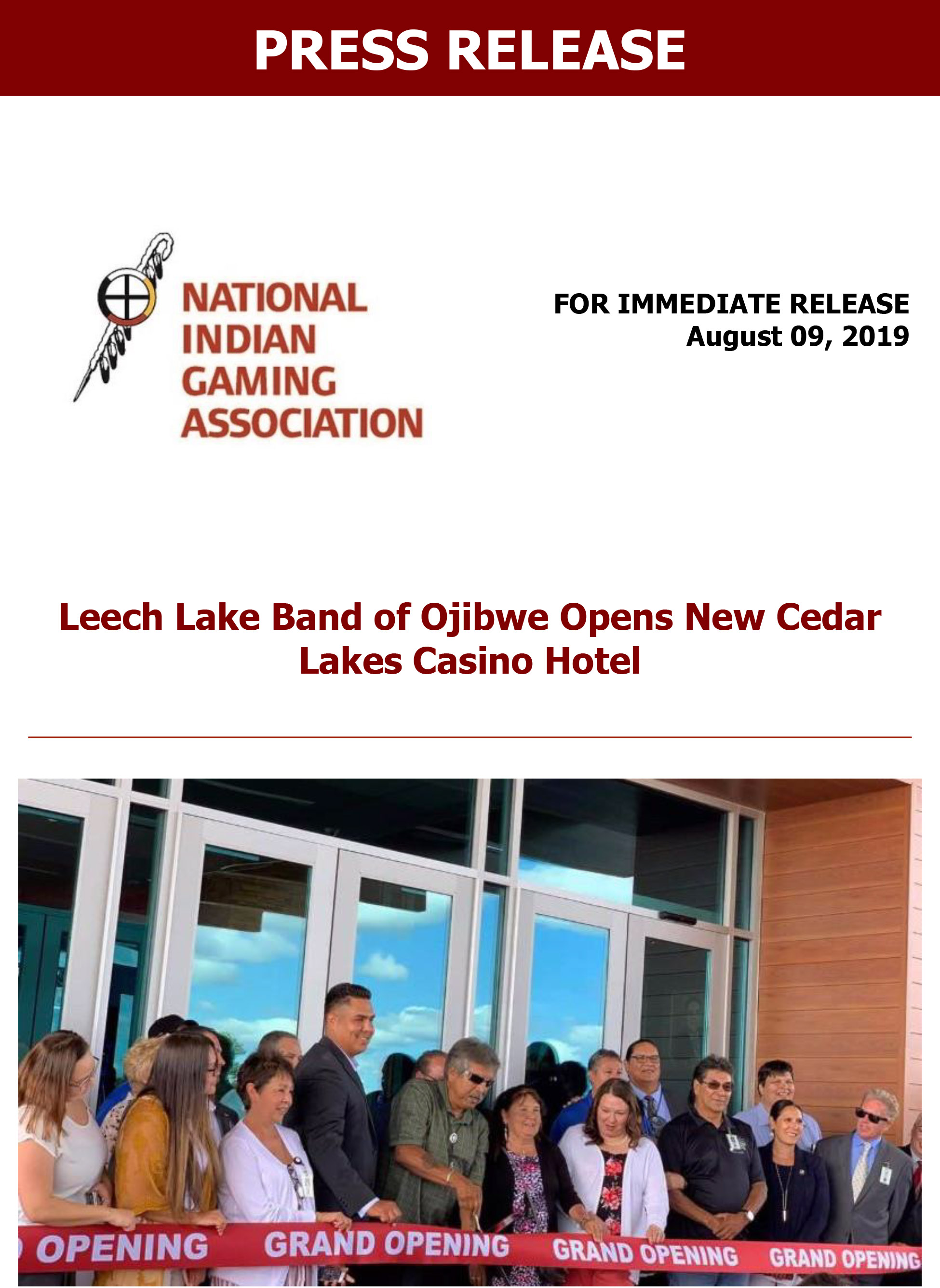Leech Lake Band of Ojibwe Opens New Cedar Lakes Casino Hotel